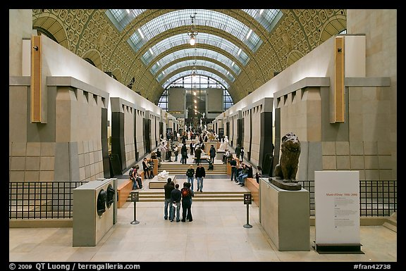 Interior of the Musee d'Orsay. Paris, France (color)