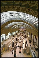 Vaulted ceiling and main room of the Musee d'Orsay. Paris, France