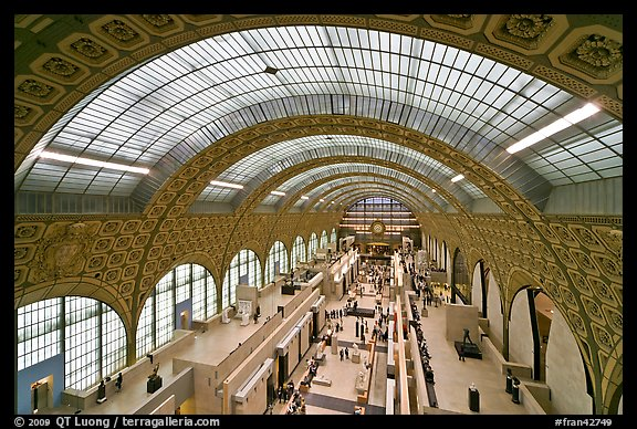 Vaulted ceiling main exhibitspace of Orsay Museum. Paris, France (color)