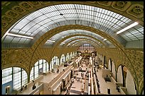 Vaulted ceiling main exhibitspace of Orsay Museum. Paris, France