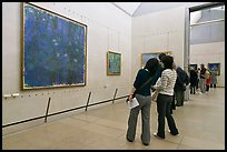 Visitors looking at a large impressionist painting of a lilly pond. Paris, France (color)