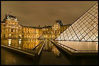 IM Pei Pyramid and Sully Wing at night, The Louvre. Paris, France (color)