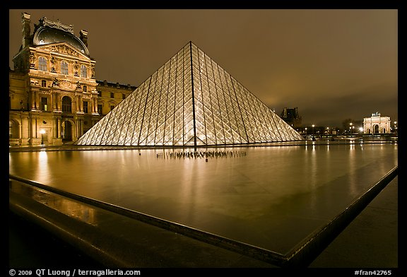 IM Pei Pyramid and reflection ponds at night, The Louvre. Paris, France (color)