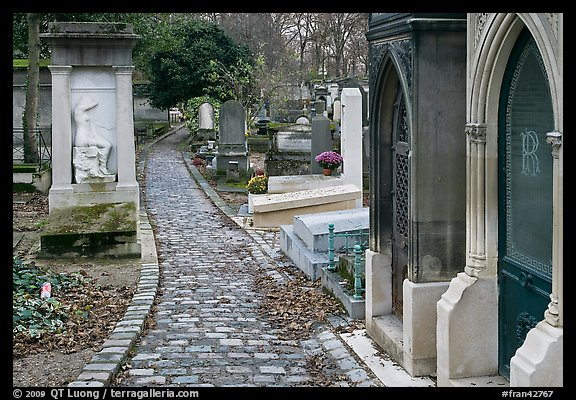 Monumental tombs in Pere Lachaise cemetery. Paris, France