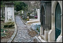 Monumental tombs in Pere Lachaise cemetery. Paris, France (color)