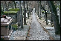 Alley and tombs in winter, Pere Lachaise cemetery. Paris, France (color)