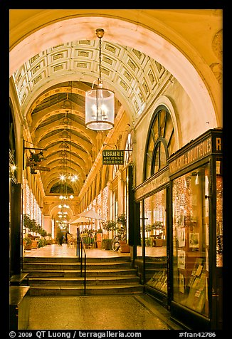 Gallery at night, passage Vivienne. Paris, France (color)