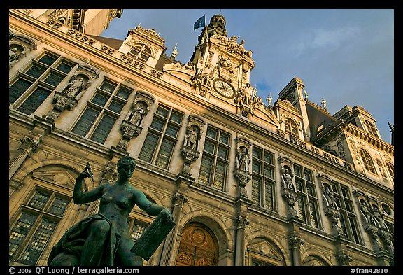 Statue Science by Jules Blanchard and Hotel de Ville at sunset. Paris, France (color)
