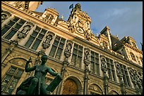Statue Science by Jules Blanchard and Hotel de Ville at sunset. Paris, France