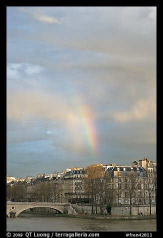 Rainbow above Ile St Louis. Paris, France