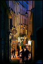 Narrow pedestrian street at dusk. Quartier Latin, Paris, France