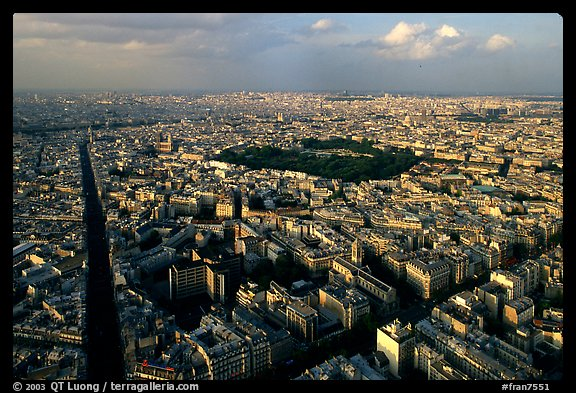 Streets and Luxembourg Garden seen from the Montparnasse Tower. Paris, France (color)