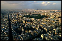 Streets and Luxembourg Garden seen from the Montparnasse Tower. Paris, France