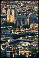 Notre Dame seen from the Montparnasse Tower, late afternoon. Paris, France