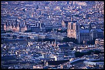 Hotel de Ville (City Hall) and Notre Dame seen from the Montparnasse Tower, sunset. Paris, France
