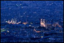 Hotel de Ville (City Hall) and Notre Dame seen from the Montparnasse Tower, dusk. Paris, France