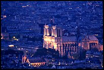 Notre Dame seen from the Montparnasse Tower, dusk. Paris, France