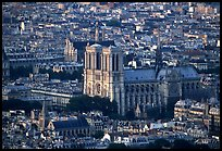 Notre Dame seen from the Montparnasse Tower, sunset. Paris, France (color)