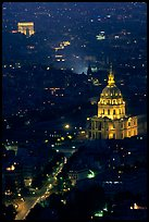 Arc de Triomphe and Invalides seen from the Montparnasse Tower by night. Paris, France (color)