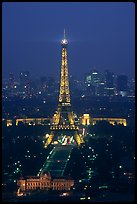 Tour Eiffel (Eiffel Tower) and Palais de Chaillot (Palace of Chaillot)  seen from the Montparnasse Tower by night. Paris, France (color)
