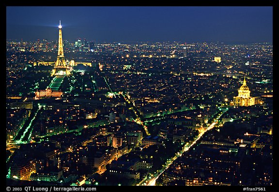 Tour Eiffel (Eiffel Tower) and Invalides by night. Paris, France (color)