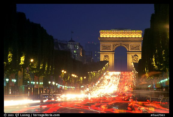 Champs Elysees and Arc de Triomphe at dusk. Paris, France