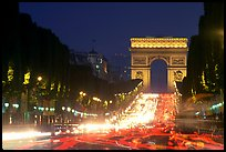 Champs Elysees and Arc de Triomphe at dusk. Paris, France ( color)