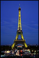 Tour Eiffel (Eiffel Tower) by night. Paris, France (color)