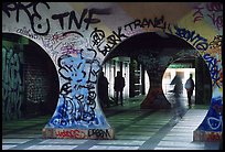 Gallery with graffiti. Paris, France (color)