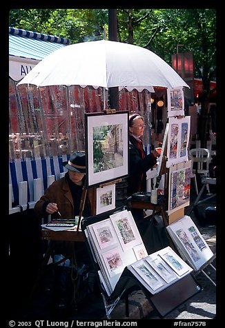 Painters on Place du Tertre,  Montmartre. Paris, France