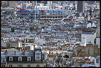 Rooftops and Centre Beaubourg seen from Montmartre. Paris, France