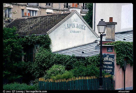 Au Lapin Agile, a famous historic cabaret, Montmartre. Paris, France (color)