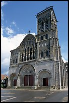 Facade of the Romanesque church of Vezelay. Burgundy, France (color)
