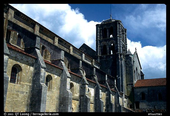 Side of the Romanesque church of Vezelay. Burgundy, France (color)
