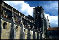Side of the Romanesque church of Vezelay. Burgundy, France