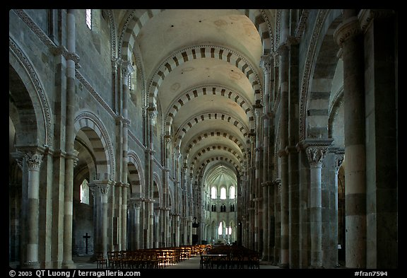 Nave of the Romanesque church of Vezelay. Burgundy, France (color)