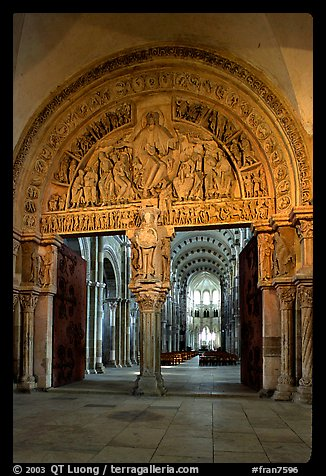 Sculpted Doors and tymphanum inside the Romanesque church of Vezelay. Burgundy, France (color)
