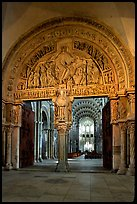Sculpted Doors and tymphanum inside the Romanesque church of Vezelay. Burgundy, France