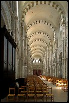 Nave of the Romanesque church of Vezelay. Burgundy, France
