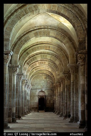 Aisle in the church of Vezelay. Burgundy, France (color)