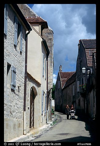 Old street in Vezelay. Burgundy, France (color)