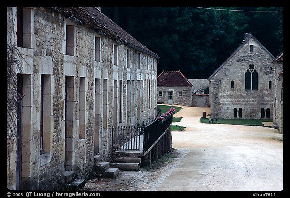 Abbaye de Fontenay, late afternoon (Fontenay Abbey). Burgundy, France (color)