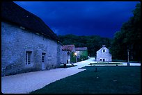 Gardens, approaching evening storm, Fontenay Abbey. Burgundy, France
