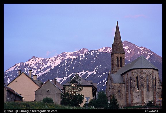 Houses and church,  Villar d'Arene, sunset. France (color)
