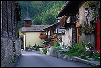 Street and church in village of Le Tour, Chamonix Valley. France (color)