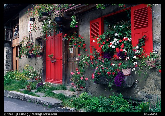 Flowered houses in village of Le Tour, Chamonix Valley. France