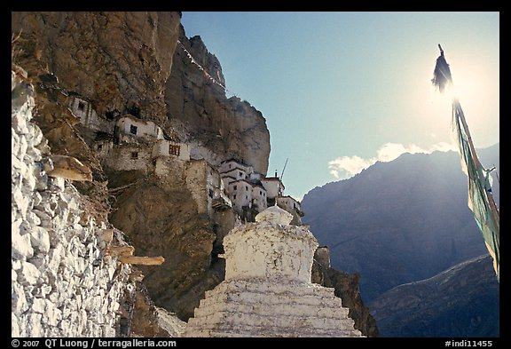 Chorten, prayer flag, and Phuktal Gompa, Zanskar, Jammu and Kashmir. India (color)