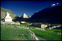 Kargiakh village, with Gumburanjan peak in the distance, Zanskar, Jammu and Kashmir. India (color)