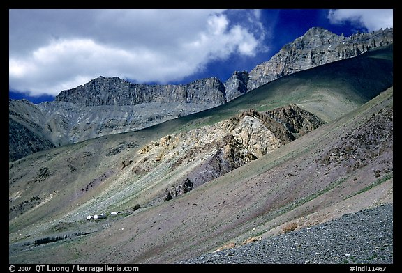 Houses lost in mineral landscape, Zanskar, Jammu and Kashmir. India