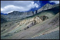 Houses lost in mineral landscape, Zanskar, Jammu and Kashmir. India (color)